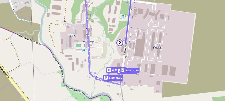 Плановая и фактическая стоянка на карте